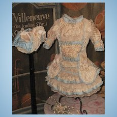 ~~~ Elegant French Silk Bebe Costume with Bonnet ~~~