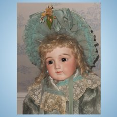 ~~~ Gorgeous French Sea-Green Silk Plush Bebe Coat with Bonnet and Muff ~~~