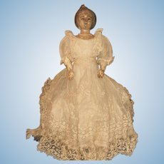 ~~~ Unusual Early Wooden Doll with Carved Hair ~~~