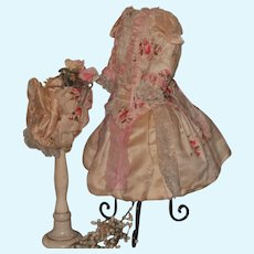 ~~~ Stunning French Silk BeBe Costume with Bonnet like Jumeau Gown ~~~