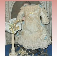 ~~~ Most Beautiful French Lace and Silk Costume with Antique Straw Hat ~~~