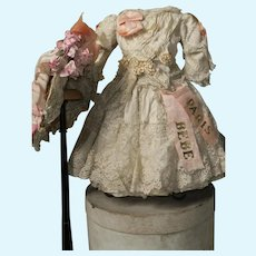 ~~~ One of a Kind French Silk Bebe Costume with Antique Straw Bonnet ~~~