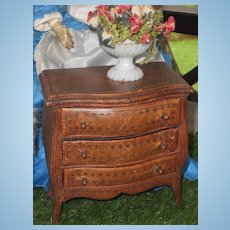 ~~~ Early French Fashion Doll Chest with Tooled Leather Cover ~~~