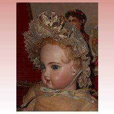 ~~~ Beautiful Small Antique Lace Bonnet with Crown Bouquet ~~~