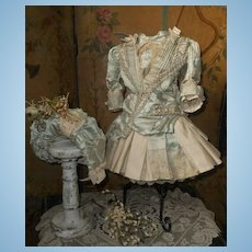 ~~~ Elegant French Silk Costume with High Brim Straw Bonnet ~~~