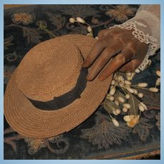 ~~~ Pretty Antique Natural Straw Hat with Silk Ribbon ~~~