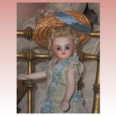 ~~~ Antique French all Bisque Mignonette in Original Aqua Silk Dress ~~~