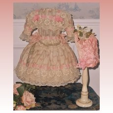 ~~~ Wonderful French Bebe Silk Summer Costume with Bonnet ~~~