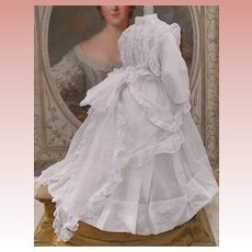~~~ Superb Antique French Poupee Muslin Gown with Slip ~~~
