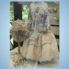 ~~~ Superb Two Piece French Bebe Costume with Lace Bonnet ~~~