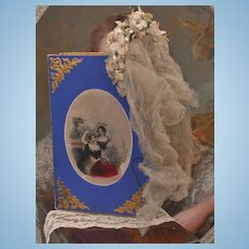 ~~~ Beautiful Antique Poupee Bridal Veil in Presentation Box / 1869 ~~~