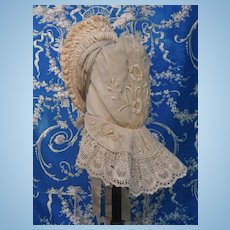 ~~~ Lovely Ivory Cashmere Woolen Doll Bonnet ~~~
