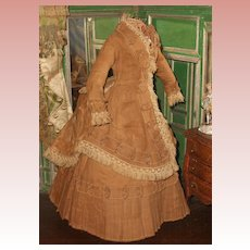 ~~~Hold for A. // Homespun Antique French Poupee Afternoon Gown ~~~