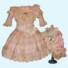 ~~~ Pretty French Pink Silk and Lace Costume with Bonnet ~~~