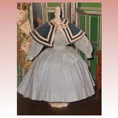 ~~~ Pretty Enfantine Poupee Checkered Linen Dress with Cape ~~~