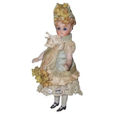 ~~~ Beautiful French All-Bisque Mignonette with Pretty Silk Costume ~~~