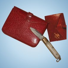 ~~~ Lovely Antique French Poupee Leather Purse with Tiny Pocket Knife ~~~