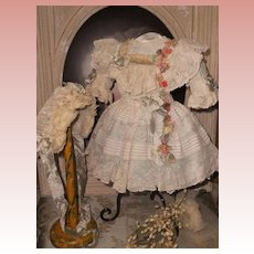 ~~~ Pretty French Silk and Muslin Bebe Costume with Bonnet ~~~