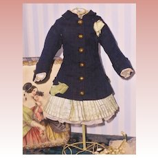 ~~~ Lovely antique French Dark Blue and Aqua Green Bebe Dress ~~~