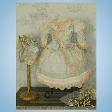 ~~~ Pretty Childlike French Bebe Silk and Muslin Costume with Bonnet ~~~