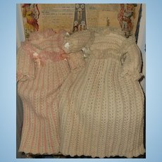 ~~~All Original Rare early Wool Knit Winter Costume for French Jumeau Bebe ~~~
