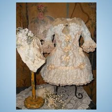 ~~~ Beautiful French Bebe Silk Costume with Bonnet ~~~