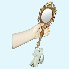 ~~~ Luxury French Poupee Gilded Bronze Hand Mirror ~~~
