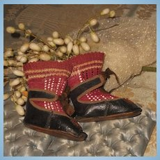 ~~~ Early Antique Bebe Shoes by Claude Prieur with Stocking ~~~