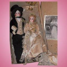 ~~~ Exceptional All Original French Bisque Poupee Wedding Pair in Original Box ~~~