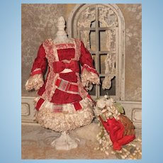 ~~~ Superb French Small Bebe Silk Costume with Bonnet ~~~
