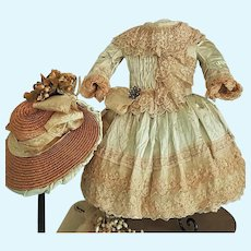 ~~~ Stunning French Bebe Silk Costume with Antique Straw Hat ~~~
