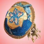 ~~~ Pretty French 19th. century Bamboo Doll Bonnet ~~~