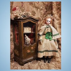 ~~~ Elegant French Poupee Miniature Vitrine with Hand Painting / 1875 ~~~