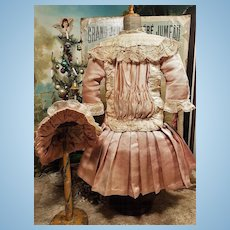 ~~~ Lovely Vintage French Silk Satin Dress with matching Bonnet ~~~