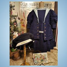 ~~~ Jumeau Factory Navy Blue Wool Sailor Costume size 12 Bebe ~~~