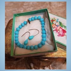 ~~~ Jumeau Factory Blue Bead Necklace and Earrings in Box ~~~
