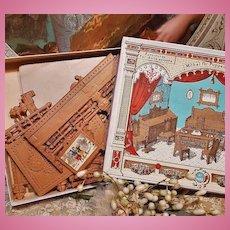 ~~~ Rare Dresden Paper Dollhouse Furniture Set in Box ~~~