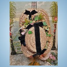 ~~~ Special Beautiful Antique Straw Bonnet / 4th quarter 19th. century ~~~