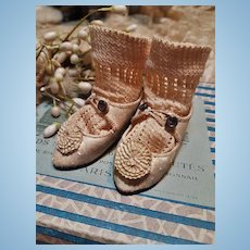 ~~~  Pretty Antique White Rosette Bebe Shoes by Alart with Stocking ~~~