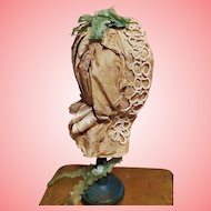 ~~~ Pretty French Silk Taffeta Bavolet Poupee Bonnet for Huret , Rohmer , Barrois .......~~~
