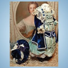 ~~~ Superb French Silk BeBe Costume with Bonnet ~~~
