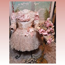 ~~~ Superb French Silk Bebe Costume with matching Bonnet ~~~