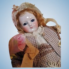 aba0c56c39d Early French Porcelain Poupee with Rare Sculpted Bare Feet and Porcelain  Arms ~