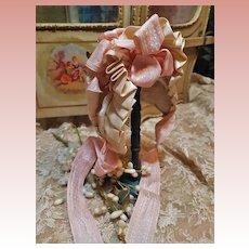~~~ Superb French Antique Silk Bonnet / circa 1880 Mint Condition ~~~