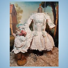 ~~~ Pretty French Cream Pique Dress with Bonnet ~~~