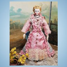~~~ Pretty German Bisque Lady in Superb Costume attributed by Simon & Halbig ~~~