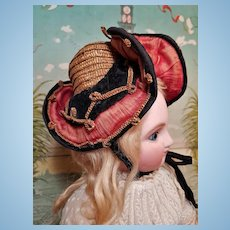 ~~~ Rare all original Antique French Doll Chapeau / Bourbonnaise ~~~