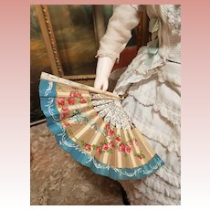 ~~~ Elegant Antique Poupee Fan with Hand Painting Silk ~~~