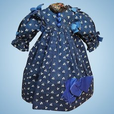 ~~~ Lovely Antique Blue Cotton Dress attribute by Jumeau Factory ~~~