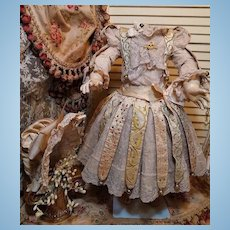 ~~~ Outstanding French Bebe Silk Party Costume with Bonnet ~~~